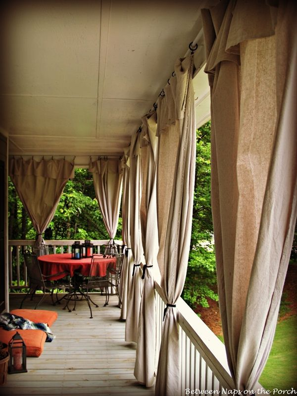 Make Drop Cloth Curtains for Outdoor Spaces and Porches.  Rather than cutting excess and hemming that side, this crafter folded the excess over as a valance.