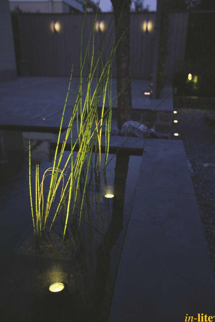 Sprankelend water | Vijver | Onderwaterspot SUB | Waterplanten | Wandlamp CURV | Buitenverlichting 12V | Inspiratie | Outdoor lighting