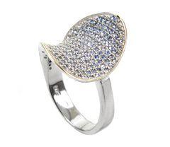 Inel argint rodiat, 925, design italian. Pietre: Zirconia micropave. Culori: albastru deschis