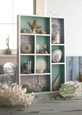 @Mona Ballard Evanochko this would be a great way to organize some of your shells. love the back painted blue