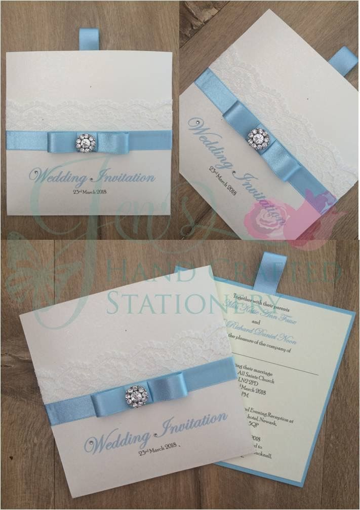 book wedding invitations uk%0A Pale blue ribbon and lace wallet invitation  www jenshandcraftedstationery co uk  www facebook com jenshandcraftedstationery Hand Made Wedding stationery
