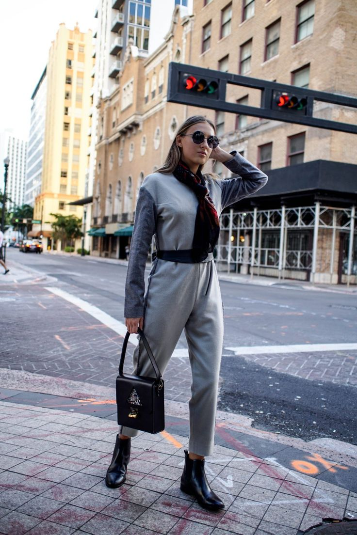 Ralph Lauren scarf and Woolen / winter jumpsuit outfit styled by Miami fashion blogger Tanya Litkovska. More on HIDEMYCOAT blog