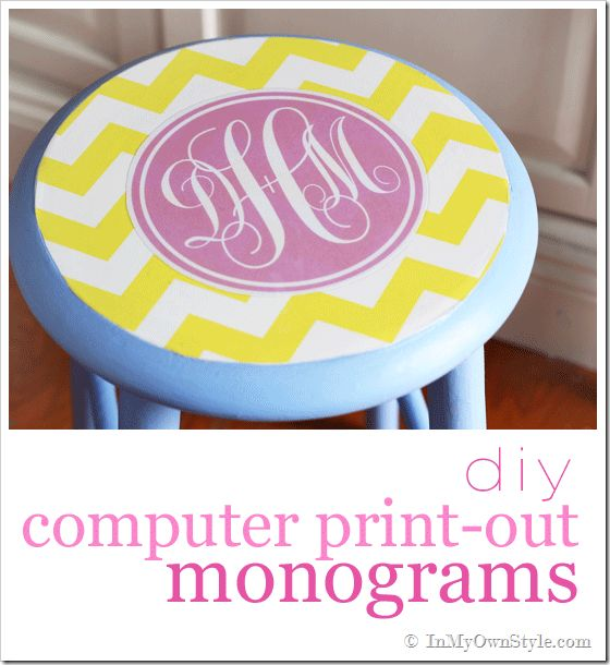 If you have a computer - you can do this!  Computer-Printed-Monogram-Stool-Furniture-Makeover