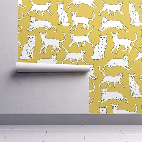Removable Water-Activated Wallpaper Paint Number Cats Painted Cat Portraits