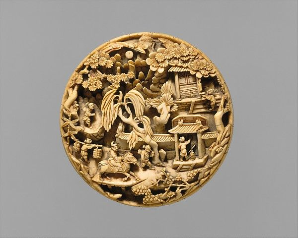 Medallion with Return from a Spring Outing, late 16th-early 17th century. Ming dynasty (1368-1644). The Metropolitan Museum of Art, New York. Purchase, Friend of Asian Art Gifts, 1993 (1993.176)