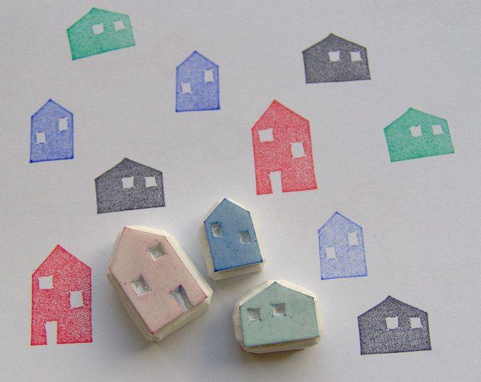 Bollo di House, set di 3, case francobolli, casa intagliato timbro di gomma, piccolo case, insieme del bollo, timbro di gomma, carta facendo, timbro di casa di villaggio