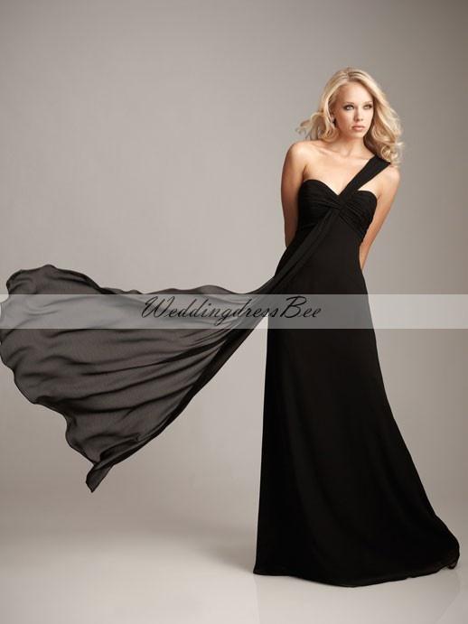 One shoulder chiffon bridesmaid dress with empire waist $137.20