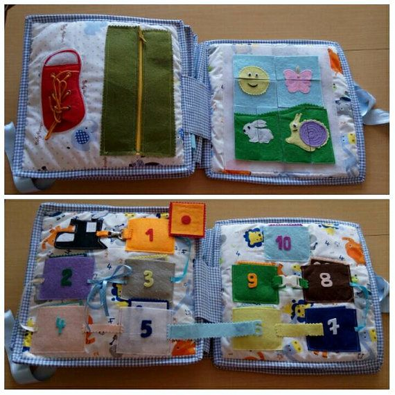 Soft book quiet for kid 12 page 28x28 Montessori cloth book