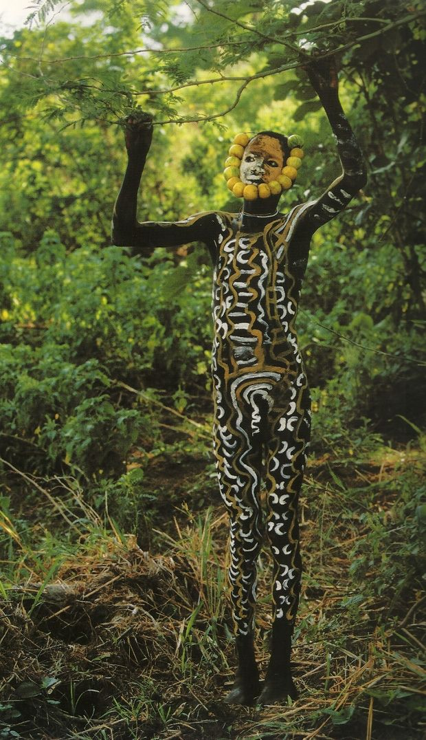 """© Hans Silvester. Courtesy Marlborough Gallery.  """"Body painting, as practiced here in East Africa, the cradle of humanity, seems to me to represent a way of life that dates from prehistory and once enabled humankind to overcome the hostility of nature. Art was then a means of survival."""" #world_cultures"""