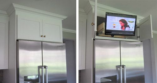 Nice way to hide a tv in the kitchen. I use my computer all the time for recipes. This would be so cool!