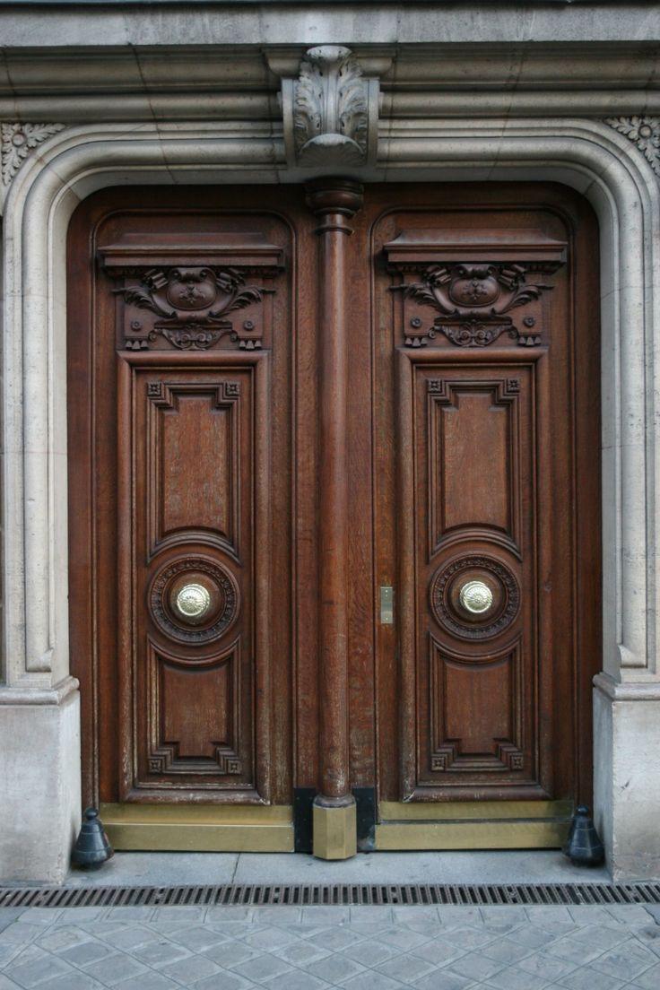 Furniture, Artistic Brown Teak Wood Front Door With Classic Carving Design:  Extraordinary Design Of