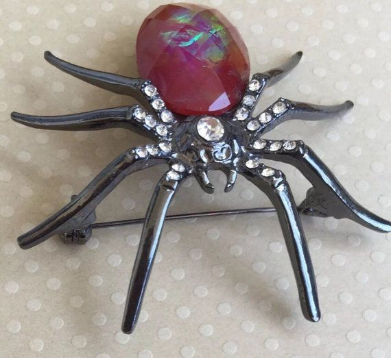 Vintage Large spider with faux crystal brooch by Patladybug