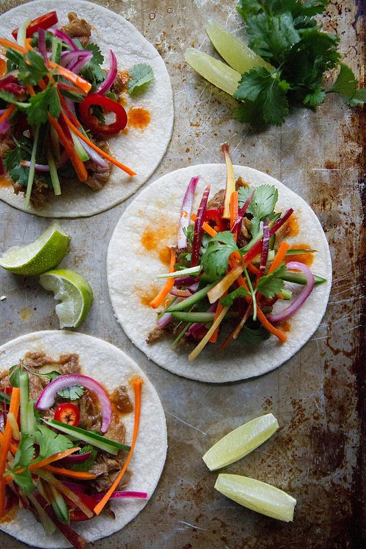 Banh Mi Tacos with Spicy Sircacha Honey Sauce