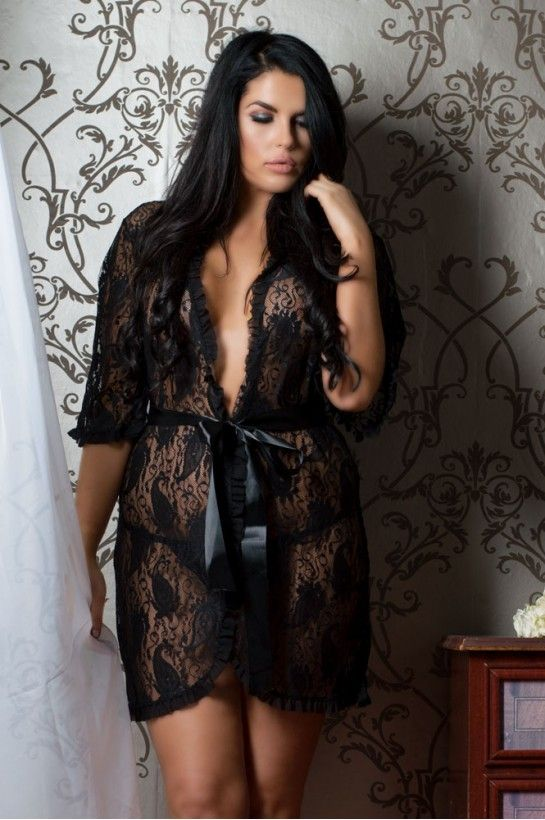 Perfect4U Fabulous #PlusSize Black Floral Lace Robe