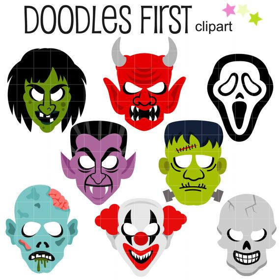 Scary Halloween Masks Clip Art for Scrapbooking by DoodlesFirst