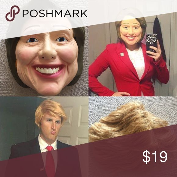 Flash Sale! Hillary Clinton Mask/ Donald Trump Wig Wore these for Halloween and it was hilarious! You could definitely use these for an ugly sweater party! Very funny! Accessories
