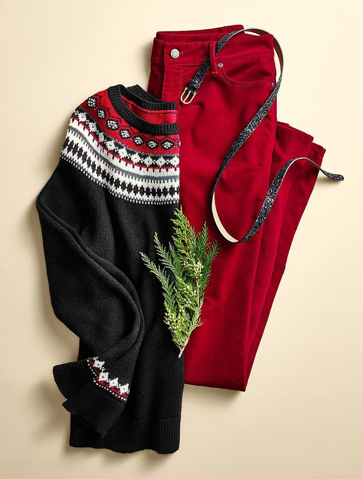 Love the Fair Isle sweaters.  Cute festive outfit for the holidays.  Talbots - Fair Isle Stripe Sweater | Sweaters |