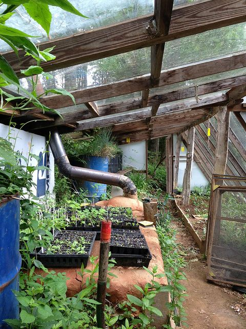 Rocket Woodburning Heater in the Greenhouse