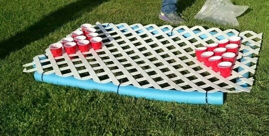 Homemade floating beer pong table