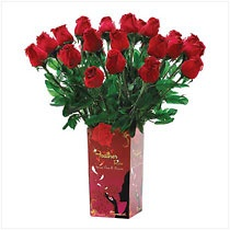 "Tickle the fancy of any loved one when you surprise them with a ruby-red rose... or better yet, a double-dozen of them! Each petal and leaf is cleverly fashioned from genuine feathers, for the lifelike look of dewy-fresh rose buds, yet hold their beauty forever. Packaged in a 24-piece presentation box that's ideal for giving or resale display.   	  Goose feathers with metal stems. Each is 1¾"" diameter x 19"" long. 2 Dozen   	  Availability: Out of Stock   	  Item:  39569"