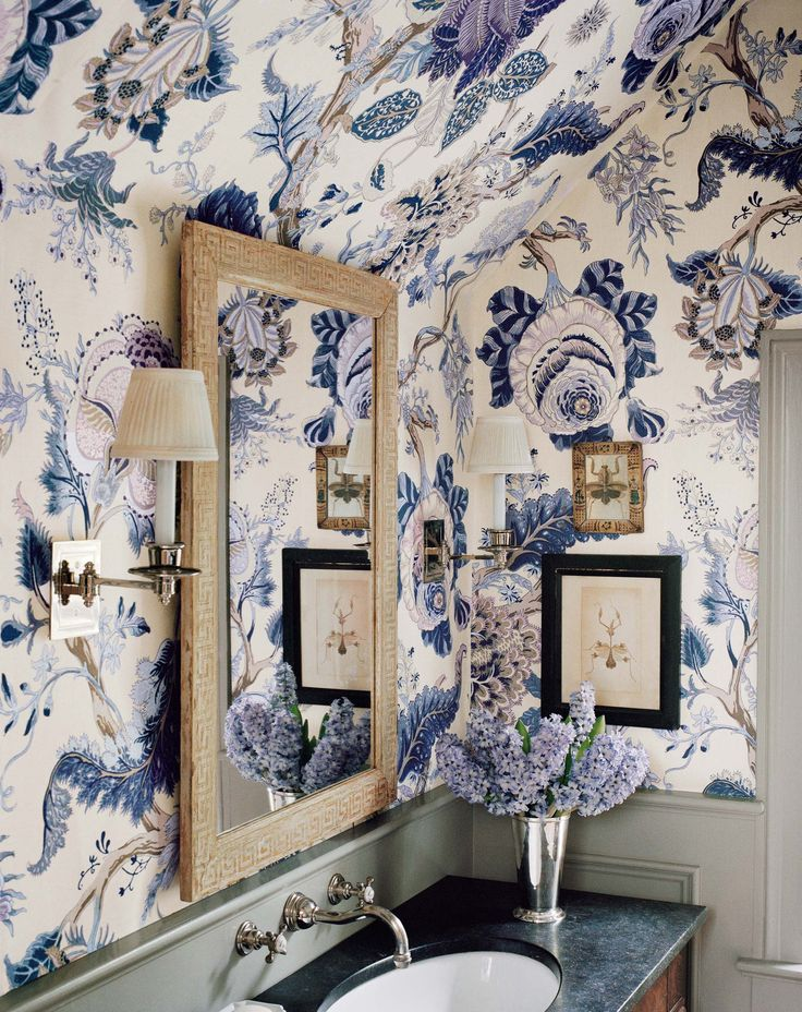 Indian Arbe In Hyacinth | 125th Anniversary Collection | Schumacher. Floral Print  WallpaperWallpaper ...