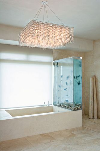 Aquarium wall near the bath tub would be super easy to clean the tank. Don't forget to sanitize the bathtub afterward.