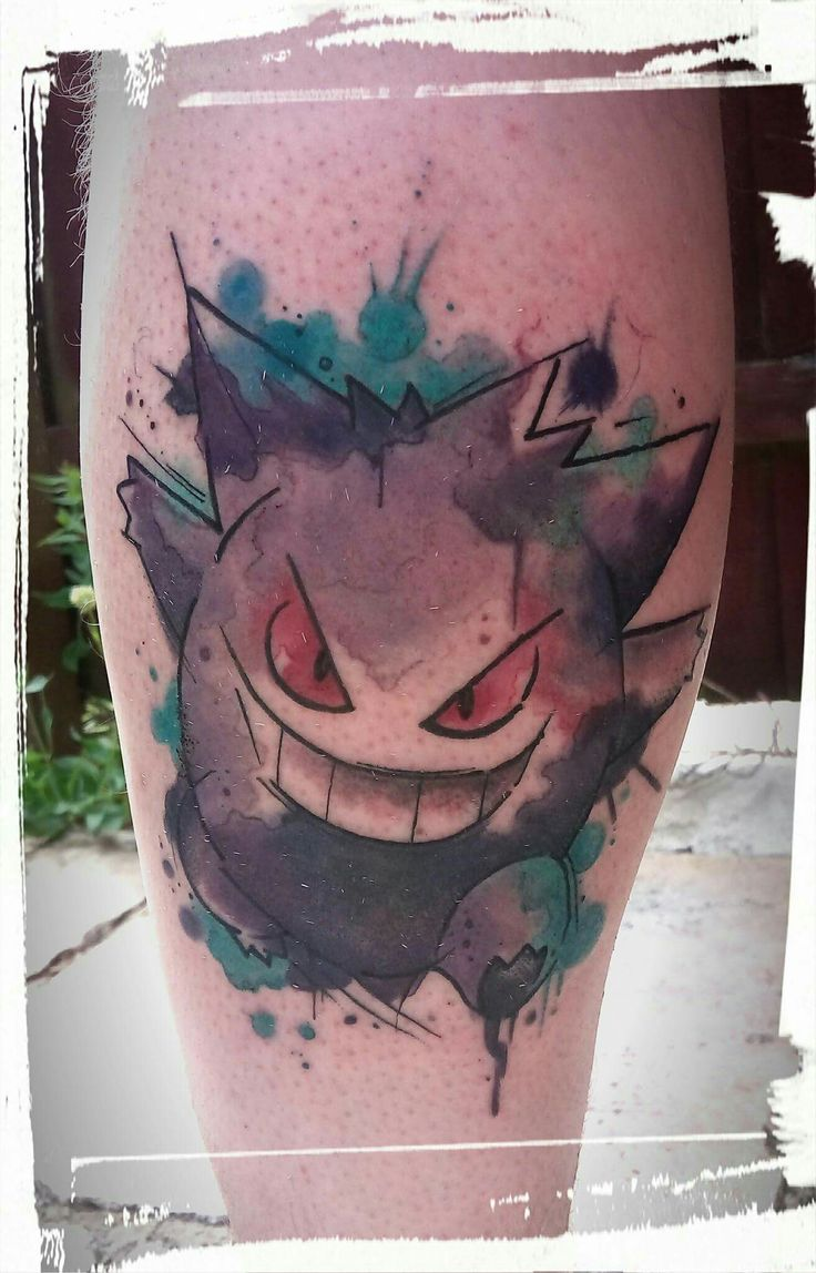 Gengar pokemon watercolour tattoo by fi at the colour of magic tattoo studio, uk