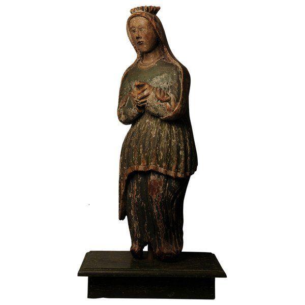 Naive Carving of a Female Saint, Catalonia Spain, circa 1600