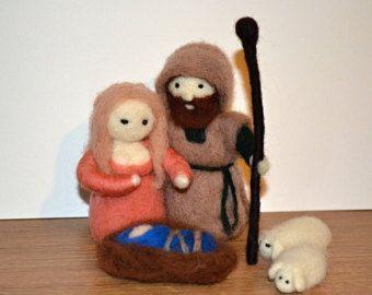 Conjunto de Natividad fieltro aguja - María, José y Jesús