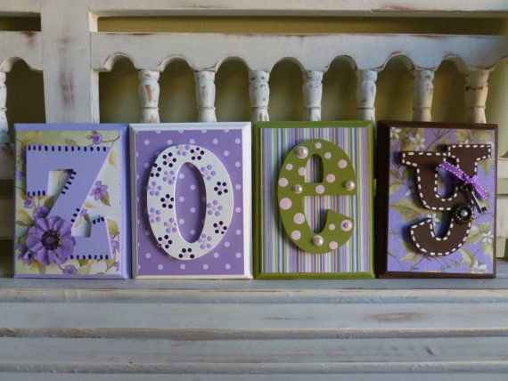 items similar to 4 letter name purple lavender shabby chic custom name wall personalized child girls room art new baby cottage ornate vintage on etsy