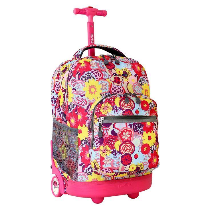J World 18 Sunrise Rolling Backpack - Poppy Pansy