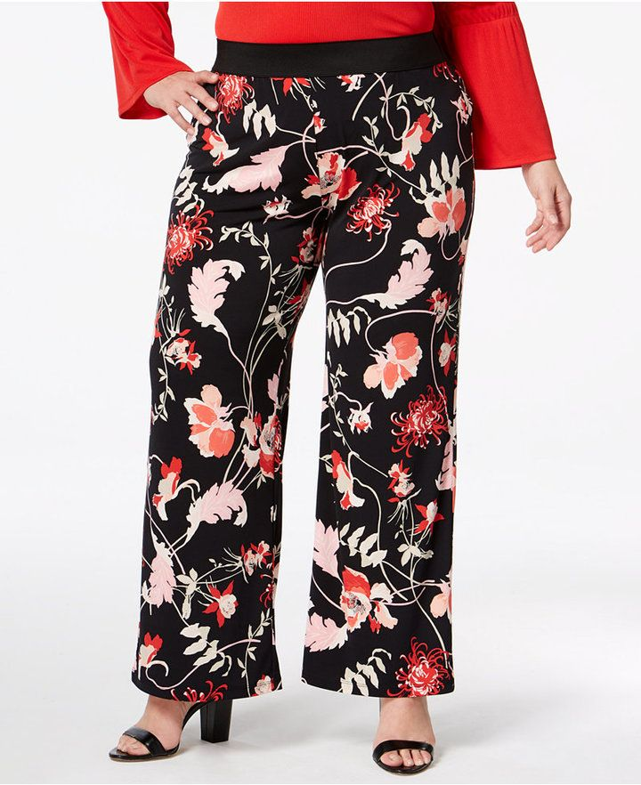 9ef24260161 Alfani Plus Size Printed Pull-On Palazzo Pants