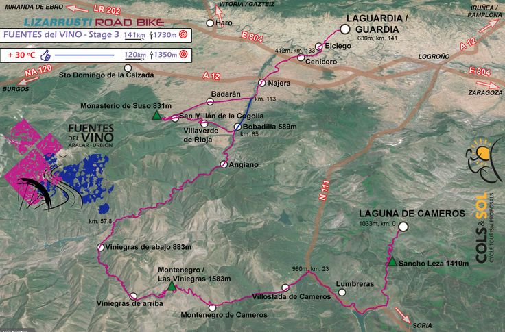 FUENTES del VINO stage 3, map of the route