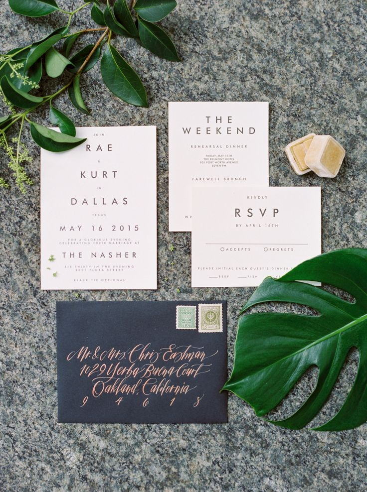 modern minimal sans serif font wedding invitations, white on black, paired with hand addressed calligraphy envelopes | modern natural wedding | Tropical Floral Inspired Spring Dallas Wedding | colourful florals
