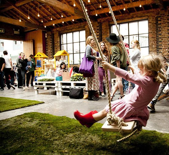 Indoor play area with grass.. cool!  www.poppytalk.blogspot.com