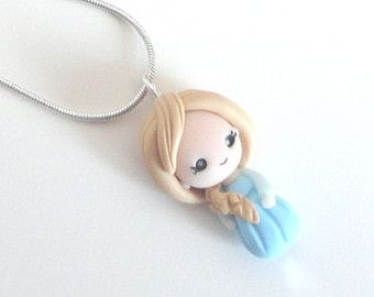 Necklace pendant  Elsa  Frozen Queen of Ice polymer clay doll kawaii cute ooak