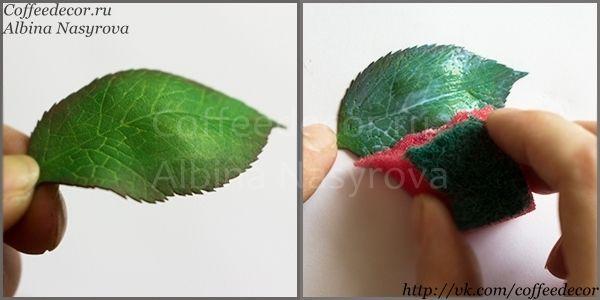 МК Листья розы: покрытие лаком