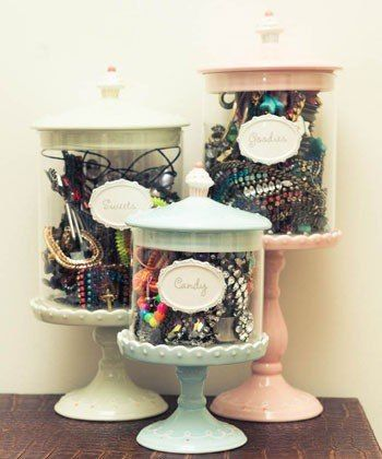 Creative DIY Jewelry Organizers ~ Candy containers are great jewelry storage. This might be a great idea for my cuff bracelets!