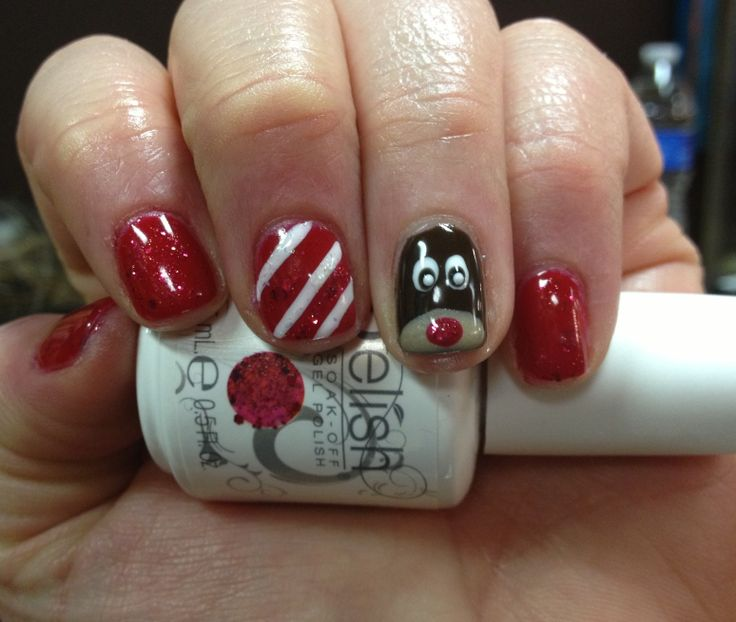 91 best nails images on pinterest entertainment fun and lol holiday fun christmas gelish nail art sparkly red with rudolph prinsesfo Choice Image