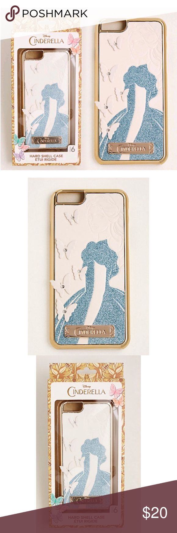 Super Cute Disney Cinderella IPhone 6 Case NWT Super Cute Disney Cinderella IPhone 6 Case. Case has a Hardshell Protective design which features a Detailed Glittering Cinderella Graphics & Buttery Appliqués. Additional Details Attached with Pictures Disney Accessories Phone Cases