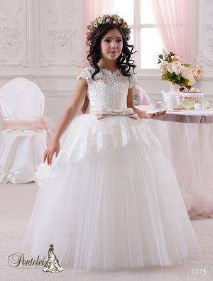 5e2fd6aa662 Pentelei 1075 Tulle and lace Skirt Sweetheart Illusion Neckline Ball First  Communion Dress
