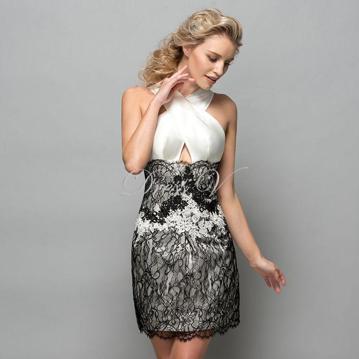 Купить Белые и черные кружева короткие платья коктейльные 2016 крест крест образным вырезом аппликация женщины пром дизайнер формальный праздники другие товары категории Коктейльные платьяв магазине DressvнаAliExpress. платье бальное платье и платье романтической