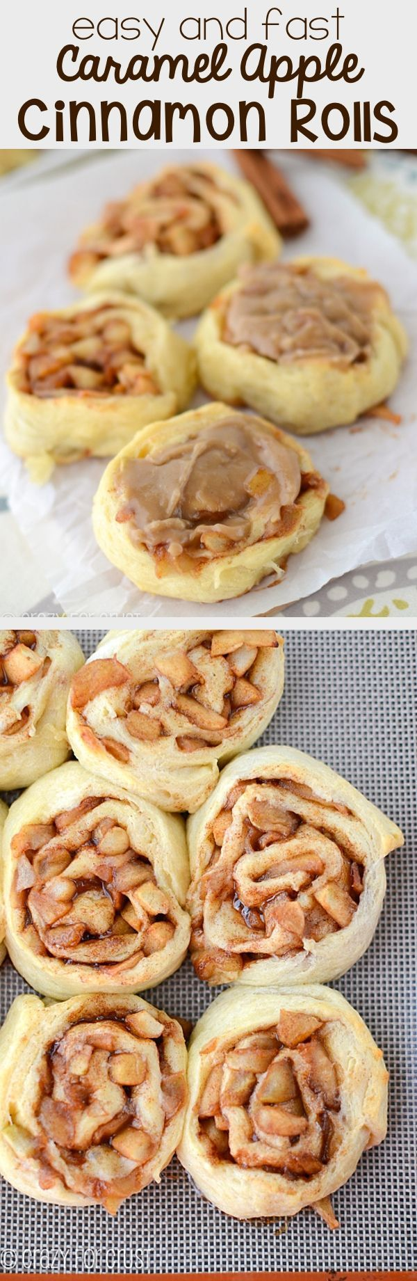 Easy Caramel Apple Cinnamon Rolls - this fast and easy recipe is perfect for apple season! Apple stuffed cinnamon rolls topped with the BEST Caramel Icing!