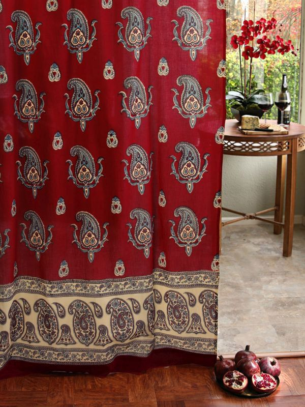 Red sheer curtain panel, Paisley print red sheer curtain panel, Red paisley sheers