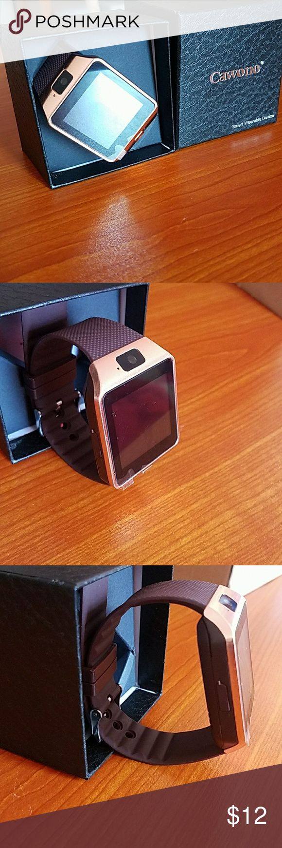 USED Rose gold Smart watch Used rose gold smart watch...you can take photos but the quality isnt that great..you can make and receive phone calls...play music (no head phone jack) ..send and receive texts (no talk to text) set alarm..this watch can be for a female or a male Accessories Watches