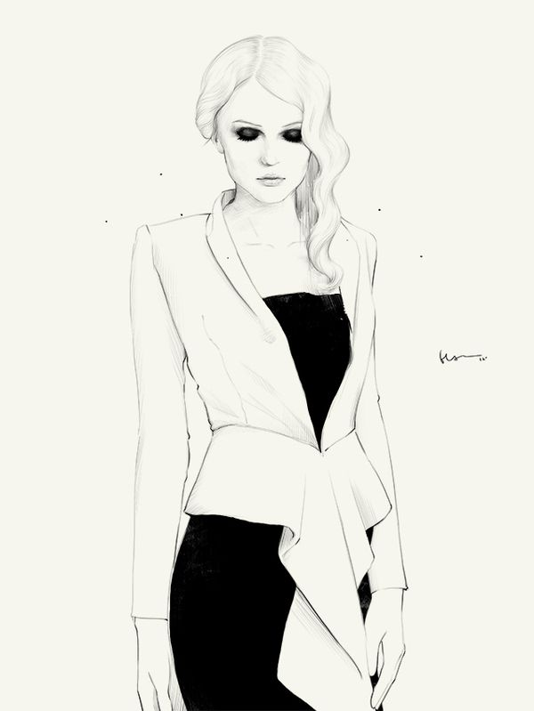 Fashion illustration - dress & jacket, black & white fashion drawing // Floyd Grey