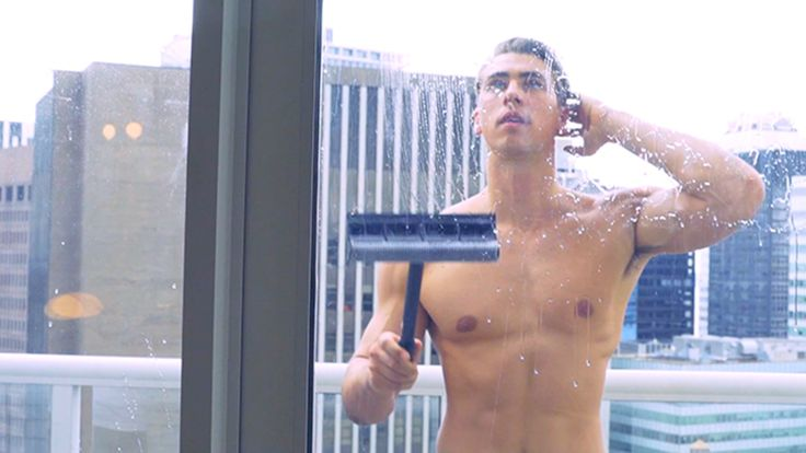 Hot Guy Cleaning a Window: Nothing better than clean windows and a hot guy.