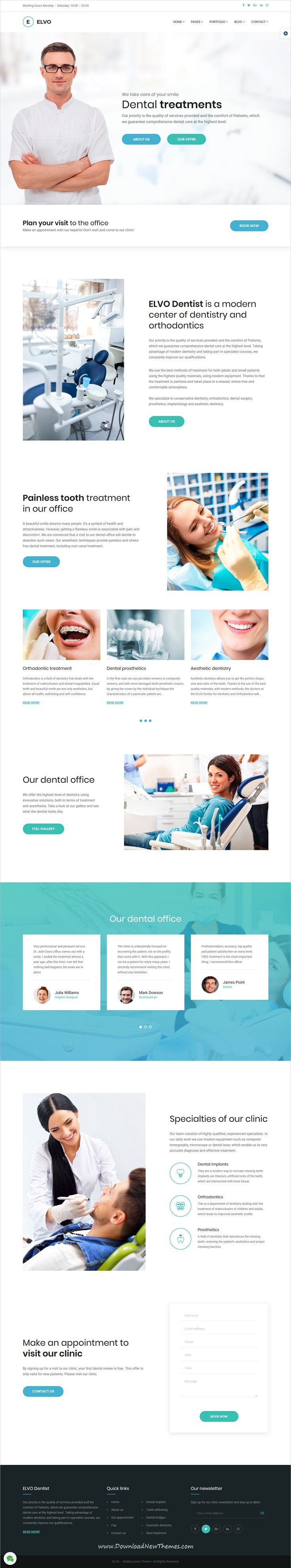 Elvo is clean and modern design responsive multipurpose Joomla template for #dentist, #dental and #orthodontics #website with 18+ niche homepage layouts to live preview & download click on Visit 👆