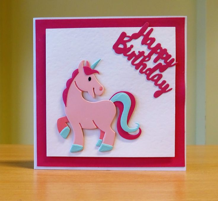 Birthday Card - Marianne Collectables Unicorn Die. To purchase my cards please visit CraftyCardStudio on Etsy.com.
