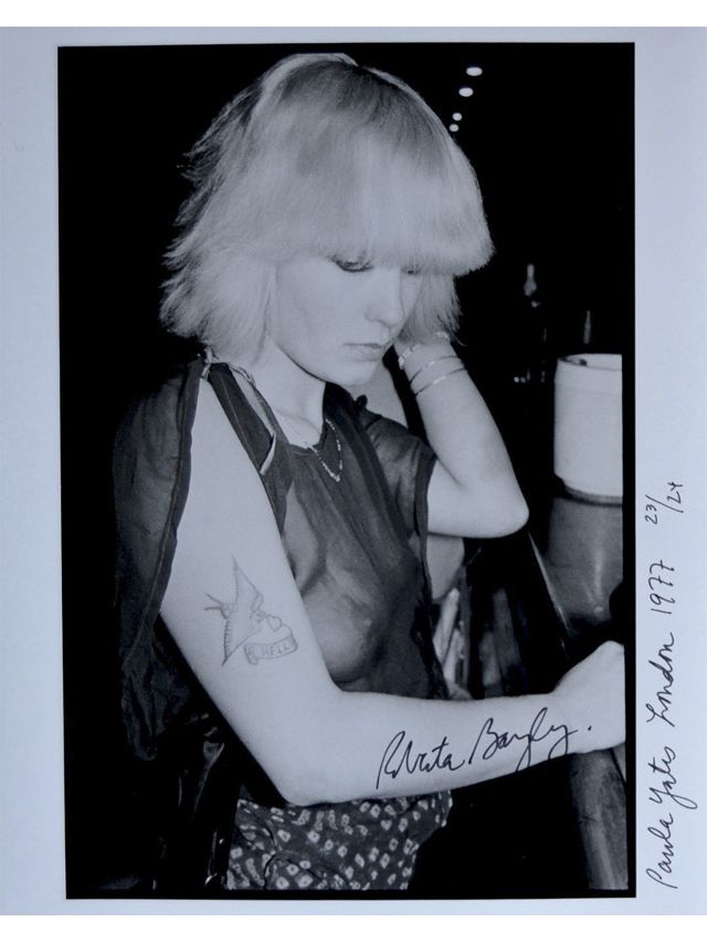 Roberta Bayley, Paula Yates, London, 1977. Roberta Bayley is a noted documentarian of the emerging punk scene in 1970s and 1980s New York. She traveled on tour with Blondie, and shot the photograph for the Ramones' first album. As chief photographer at the Punk magazine, Bayley shot many of the scene's most recognizable figures, including members of The Clash and the Sex Pistols, as well as Elvis Costello, Richard Hell, and Iggy Pop.